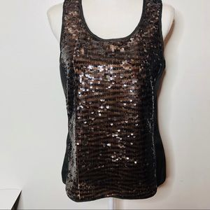 The Limited brown sequin Embellished front top M